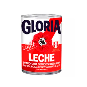 Leche evaporada Gloria Light 410 gr