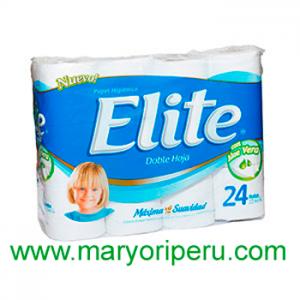 Papel Higienico Elite doble hoja etiqueta celeste x 24 rollos