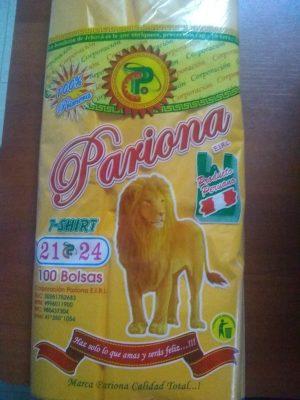 Bolsa plástica con asa pariona 21 x 24 x100 und